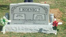 "Granite cemetery headstone- gray- includes 2 4 x 10"" gray vases as shown"