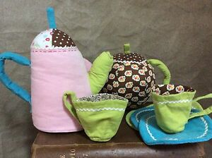 PLUSH TEA SET Soft Corduroy FLORAL FABRIC Pottery Barn Kids Fabric Baby Toy 8 Pc