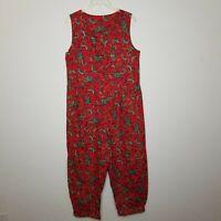 Vintage 1980s Womens Jumpsuit Boho Festival Red Paisley Print