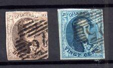 Belgium 1858 Leopold 10c & 20c imperfs used WS16759