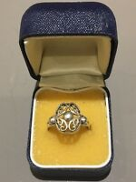 Beautiful Marked Sterling Silver Ornate Design Sz Q 1/2 Ring 2.98gr