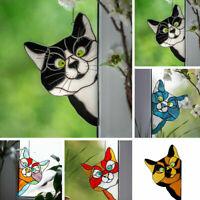 3D Cartoon Peeking Cat Stained Glass Window Hanging Cat Stain Pendant Ornament