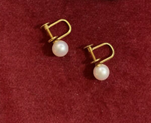 Solid 18kt Yellow Gold 6mm Saltwater Pearl Screw back (non pierced) Earrings