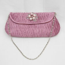 PINK / LILAC CLUTCH EVENING HANDBAG WITH PEARLS