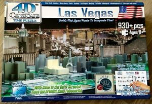 4D Cityscape Time Puzzle, Las Vegas, with Glow in the Dark Streets