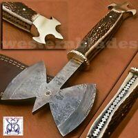CUSTOM HAND MADE DAMASCUS TOMAHAWK VIKING AXE HEAD BEAUTIFUL HANDEL HORN