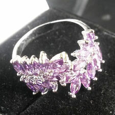 Marquise Amethyst White Gold Filled Costume Rings