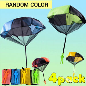 4 Pack Parachute Toy Hand Throwing Parachute Man wit Durable Outdoor Play Game