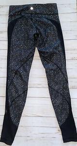 LULULEMON Drop It Like It's Hot Leggings Butterfly Texture Black White Sz 6 Mesh