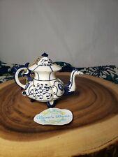 Nini Vtg York Miniature Blue & White Dragon Hand Painted Teapot Trinket Holder