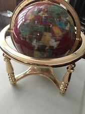 semi precious gem stone globe on brass stand