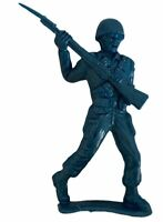 Vintage Action Figure Toy Army Blue Retro Infantry Soldier WWII Bayonet Rifle