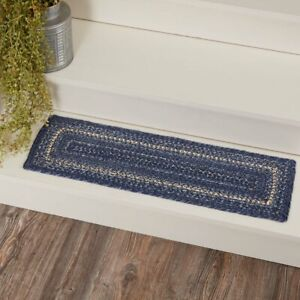 "VHC Brands Farmhouse 27""x8.5"" Stair Tread Blue Great Falls Textured Floor Decor"
