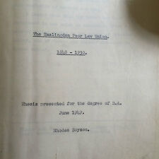 Haslingden Poor Law Union 1848-1930 Rhodes Boyson MP University Thesis
