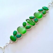 LOVELY 925 SILVER HANDCRAFTED NATURAL GREEN TURQUOISE/OPALITE/QUARTZ BRACELET.