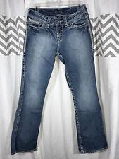 """Silver Suki 17"""" Flap Size 28x31 6 28 Denim Jeans Boot Bootcut Leg Fade Distress"""