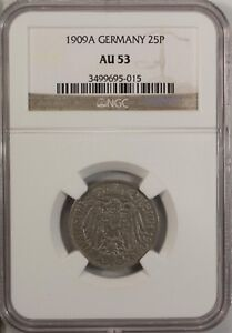Germany 25 Pfennig 1909 A NGC AU 53 Nckel Berlin  Mint