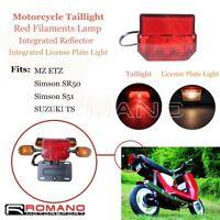 Red Brake Stop Taillight + License Plate Light For MZ Simson SR50 S51 Suzuki TS
