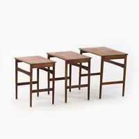 1950s Vintage Hans J. Wegner Andreas Tuck Teak Nesting Tables Set of 3 Denmark