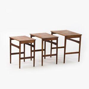 1950s Vintage Hans J.Wegner Andreas Tuck Teakholz Nisten Tische Set Mit 3
