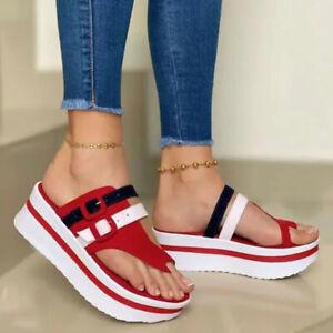 Womens Casual Summer Slip On Mules Platform Flip Flops Sandals Shoes Wedge Heel