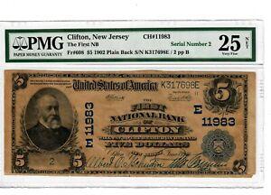 1902 serial # 2 $5 Fr608 Plain Back First National Bank Clifton NJ PMG VF25 4002
