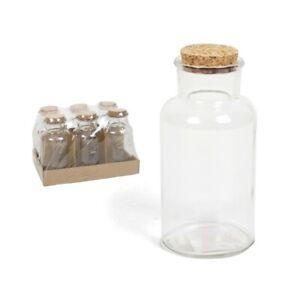 Set of 6 Large Round Glass Bottles & Cork Clear Perfume Liquor Bottles 500ml