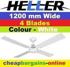 HELLER CEILING FAN WESLEY 1200mm 4 REVERSIBLE BLADES WHITE NEW 12 MONTH WARRANTY