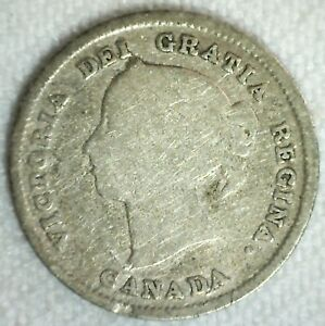 1821 Canada 5 Cents Silver Coin Good Circulated Canadian Victoria  21 Leaves