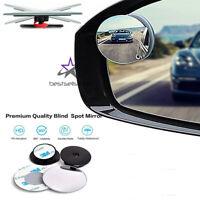 2X Round Blind Spot Mirror HD Glass Frameless Convex Rear View 360° Stick On
