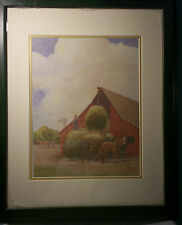 Haying by Felix Summers Lithograph Listed Iowa Artist matted, Framed
