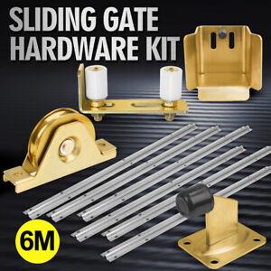 LockMaster Sliding Gate Hardware Kit Track Wheels Stopper Roller Guide Opener