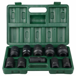 10Pcs 80mm Length 3/4 in. Drive Deep Impact Socket Tool Set (17-41mm)