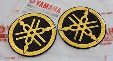 2 x YAMAHA 100% GENUINE 45mm TUNING FORK BLACK / GOLD DECAL EMBLEM STICKER BADGE
