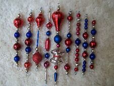 9pc Vtg Antique Patriotic Mercury Glass Bead Feather Tree Icicle Xmas Ornament D