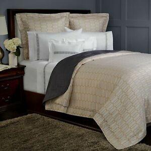 Pratesi Bedding Check Jacquard Egyptian Cotton QUEEN Duvet Cover Gold RV$660