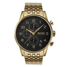Mens Hugo Boss Gold Navigator Chronograph Watch HB1513531