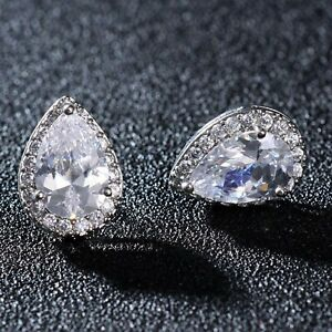 18K White Gold Finish Pear Solitaire Diamonds Halo Stud Earrings Bridal Gifts