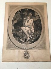 Rare Antique French Engraving Girl With Arrow Pierre Audouin Sculp Bouillon Del.
