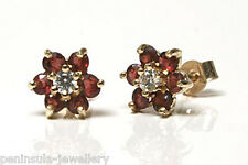9ct Gold Garnet and CZ cluster Stud earrings Gift Boxed Made in UK Christmas