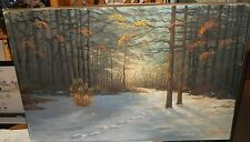 "D.MCGUIRE ""INSPIRATION"" LARGE OIL ON CANVAS LANDSCAPE TREES PAINTING DATED 1962"