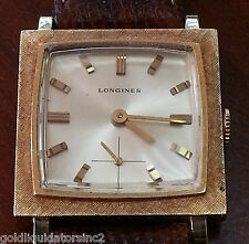 VINTAGE LONGINES MANUAL WIND SUB/SEC,SQUARE FORM,14KT SOLID.Y.GOLD,Womens