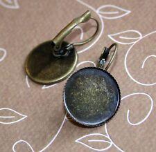 10pcs Antique Bronze Brass Leverback Earrings Cabochon Resin 18mm base setting