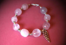 Chunky Rose Quartz Nuggets Tibetan Silver Filigree Angel Wing Bracelet