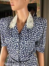 New listing Vtg Karin Stevens Navy & White Floral Dress Bib Lace Collar Elastic Waist Sz 10