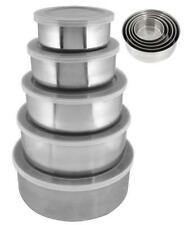 5PC STAINLESS STEEL BOWL SET WITH PLASTIC LIDS KITCHEN STORAGE CONTAINER 17186