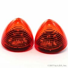 "2 New 2"" Red LED Beehive Side Clearance Marker Lights Trailer Auto Bright"