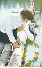 1972 RARE Little girl Launches a boat Russian Soviet photo postcard