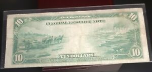 1914 $10  Federal Reserve Large Size Note ~New York~  VERY FINE