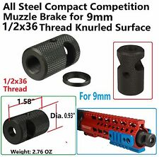 1/2x36 Thread Compact Competition Muzzle Brake For 9 MM Knurled Finish W Washer
